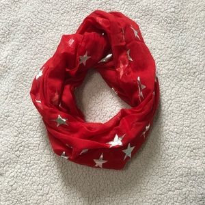 Red infinity scarf with silver stars